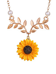 cheap -Women's Pendant Necklace Sunflower European Sweet Modern Imitation Pearl Chrome Rose Gold Gold Silver 51+5 cm Necklace Jewelry 1pc For Daily Holiday Street Going out Festival