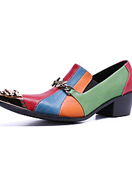 cheap -Men's Novelty Shoes Nappa Leather Spring / Fall & Winter Casual / British Loafers & Slip-Ons Non-slipping Color Block Rainbow / Party & Evening / Party & Evening / Dress Shoes / Moccasin