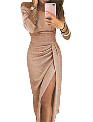 cheap -Women's Sheath Dress Maxi long Dress - Long Sleeve Solid Color Split Ruched Fall Sexy 2021 Black Red Blushing Pink Light Purple Fuchsia Gold Brown Light Green Beige Gray S M L XL XXL 3XL