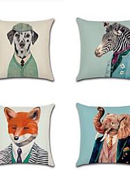 cheap -4 pcs Cotton / Linen Pillow Cover, Art Deco Wildlife Fashion Modern Throw Pillow
