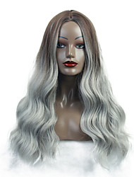 cheap -Synthetic Wig Ombre Curly Natural Wave Middle Part Wig Very Long Brown / White Synthetic Hair 26 inch Women's Synthetic Middle Part Sew in Ombre Hair White Brown / African American Wig