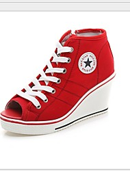 cheap -Women's Sneakers Wedge Heel Canvas Spring & Summer Black / White / Red