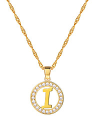 cheap -Women's Clear AAA Cubic Zirconia Pendant Necklace Necklace Charm Necklace X Letter Simple Fashion 18K Gold Plated Brass Platinum Plated Gold Silver 55 cm Necklace Jewelry 1pc For Gift Daily School