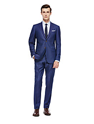 cheap -Royal Blue Solid Colored Standard Fit Wool Suit - Notch Single Breasted Two-buttons