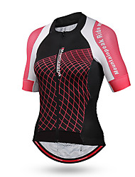 cheap -Mountainpeak Women's Short Sleeve Cycling Jersey Pink Plaid / Checkered Bike Jersey Top Mountain Bike MTB Road Bike Cycling Breathable Quick Dry Sports Rayon Clothing Apparel / High Elasticity