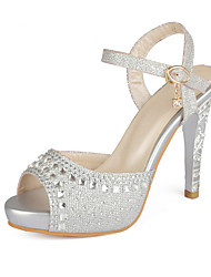 cheap -Women's Synthetics Summer Sandals Stiletto Heel Peep Toe Rhinestone / Sequin / Buckle Gold / Silver / Blue / Wedding / Party & Evening
