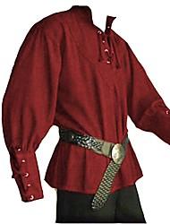 abordables -Chevalier Renaissance Rome antique Bal Masqué Homme Costume Noir / Marron / Vert Vintage Cosplay Halloween Mascarade Manches Longues / Haut / Haut