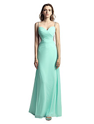 cheap -A-Line Spaghetti Strap Floor Length Crepe Cute / Vintage Inspired Prom / Formal Evening Dress with Beading / Ruched 2020