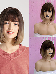 cheap -Synthetic Wig kinky Straight Natural Straight Bob Neat Bang Wig Ombre Short Ombre Color Synthetic Hair 12 inch Women's Fashionable Design Synthetic Hot Sale Ombre HAIR CUBE / Natural Hairline