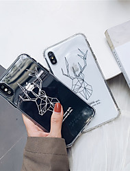 cheap -Case For Apple iPhone XS / iPhone XR / iPhone XS Max Shockproof / Transparent Back Cover Geometric Pattern / Animal Soft TPU