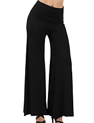 cheap -Women's Basic Wide Leg Pants - Solid Colored White Black Navy Blue S / M / L