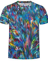 cheap -Men's Plus Size Cotton T-shirt - Rainbow Print Round Neck Rainbow