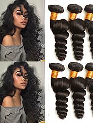 Недорогие -6 Связок Индийские волосы Свободные волны Необработанные натуральные волосы 100% Remy Hair Weave Bundles 300 g Головные уборы Человека ткет Волосы Пучок волос 8-28 дюймовый Нейтральный / Без запаха