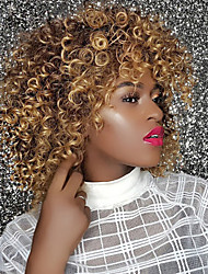 cheap -Synthetic Wig Curly Afro Curly With Bangs Wig Blonde Medium Length Strawberry Blonde / Medium Auburn Synthetic Hair 14 inch Women's Synthetic Comfortable African American Wig Blonde / Doll Wig