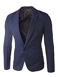 cheap -Men's Blazer, Solid Colored Shirt Collar Polyester Black / White / Purple