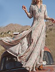 cheap -Mermaid / Trumpet Sheath / Column Chic & Modern Floral Holiday Dress V Neck 3/4 Length Sleeve Floor Length Chiffon with 2020