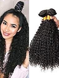 cheap -6 Bundles Brazilian Hair Kinky Curly Virgin Human Hair Natural Color Hair Weaves / Hair Bulk Bundle Hair One Pack Solution 8-28inch Natural Color Human Hair Weaves Newborn Waterfall Cute Human Hair