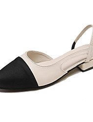 cheap -Women's Sandals Low Heel PU Casual Summer Black / Color Block
