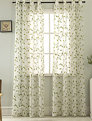 cheap -Gyrohome Grommet Top Wear Rod Hook 1pc Leaves Vine Embroider Voile Curtain GYV1017 Drape Window Children Door *Customizable* Living Room Bedroom Dining Room Balcony Children