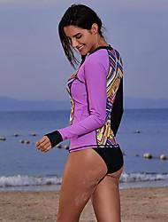 abordables -Femme Elasthanne Protection solaire UV Séchage rapide Manches Longues Natation Plongée Mosaïque Eté / Micro-élastique