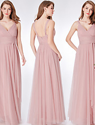 cheap -Sheath / Column V Neck Floor Length Tulle Bridesmaid Dress with Ruching
