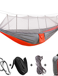 cheap -Camping Hammock with Mosquito Net Outdoor Breathable Anti-Mosquito Ultra Light (UL) Foldable Parachute Nylon with Carabiners and Tree Straps for 1 person Camping Camping / Hiking / Caving Outdoor