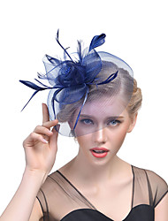 cheap -Hat / Fascinator Hat Adults' Vintage / Halloween All Azure / Black / White Tulle / Feather Masquerade Wedding Party Cosplay Accessories Christmas / Halloween / Carnival Costumes