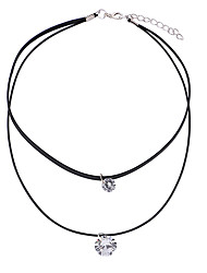 cheap -Women's Choker Necklace Necklace Layered Elegant European Sweet Fashion Cord Chrome Imitation Diamond Black 38 cm Necklace Jewelry 1pc For Gift Daily Holiday School Festival / Layered Necklace