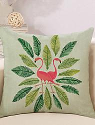 cheap -1 pcs Cotton / Linen Pillow Cover Pillow Case, Flamingo Leaf Animal Art Deco / Retro Tropical