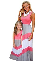 cheap -Mommy and Me Active Basic Striped Color Block Patchwork Sleeveless Long Maxi Maxi Cotton Dress Blushing Pink