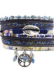 cheap -Women's Charm Bracelet Wrap Bracelet Leather Bracelet Layered Leaf life Tree Natural Trendy Fashion Boho Colorful Leather Bracelet Jewelry Blue For Gift Daily School Street Holiday / Pendant Bracelet