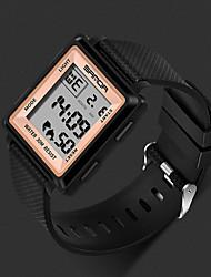 cheap -Men's Sport Watch Quartz Rubber Black / White / Brown 30 m Alarm Calendar / date / day LED Light Analog Luxury Fashion - Green Golden+Black Black / Rose Gold One Year Battery Life