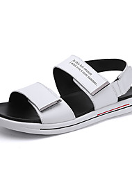 cheap -Men's Comfort Shoes Cowhide Spring / Summer Sporty / Casual Sandals Breathable Black / White