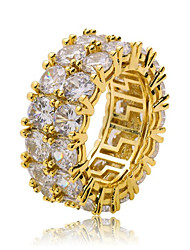 cheap -Men's Ring Cubic Zirconia 1pc Gold Silver Copper Round Stylish Hip-Hop Party Daily Jewelry Classic Cool