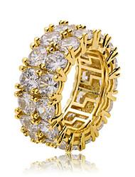 Недорогие -Муж. Кольцо Цирконий 1шт Золотой Серебряный Медь Круглый Стиль Хип-хоп Для вечеринок Повседневные Бижутерия Классический Cool