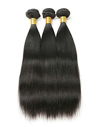 cheap -3 Bundles Malaysian Hair Straight Unprocessed Human Hair Natural Color Hair Weaves / Hair Bulk Bundle Hair One Pack Solution 8-28 inch Natural Color Human Hair Weaves Odor Free Smooth Best Quality