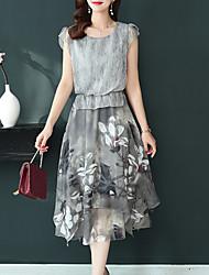 cheap -Women's 2020 Plus Size Chiffon Dress Spring & Summer Gray M L XL XXL