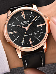 cheap -Men's Dress Watch Quartz Leather Black / Khaki Calendar / date / day Shock Resistant Analog Luxury Fashion - Coffee Black / White Khaki One Year Battery Life