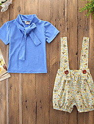 cheap -Baby Girls' Active / Basic Floral Lace up / Print Short Sleeve Regular Cotton Clothing Set Blue / Toddler