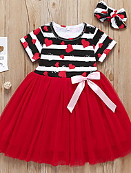 cheap -Toddler Girls' Striped Dress Red