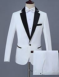 cheap -Men's Plus Size Suits, Solid Colored Notch Lapel Polyester White / Slim