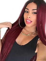 cheap -Synthetic Wig Curly Middle Part Wig Long Dark Red Synthetic Hair 22 inch Women's Women Red