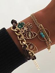 cheap -2pcs Women's Vintage Bracelet Earrings / Bracelet Pendant Bracelet Layered Vertical / Gold bar Evil Eye Simple Classic Vintage Fashion Cord Bracelet Jewelry Gold For Daily School Street Holiday
