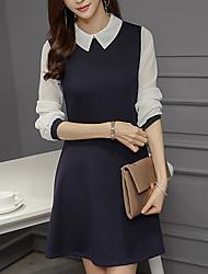 cheap -Women's Basic Elegant A Line Dress - Solid Colored Color Block Patchwork Black Navy Blue L XL XXL