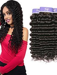 Недорогие -3 Связки Малазийские волосы Крупные кудри Необработанные натуральные волосы 100% Remy Hair Weave Bundles 300 g Человека ткет Волосы Удлинитель Пучок волос 8-28 дюймовый Нейтральный
