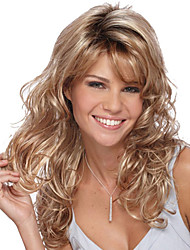 cheap -Synthetic Wig Bangs Curly Side Part Wig Blonde Long Light golden Synthetic Hair 26 inch Women's Fashionable Design Women Synthetic Blonde