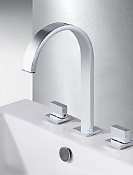 cheap -Bathroom Sink Faucet - Waterfall Chrome Widespread Two Handles Three HolesBath Taps