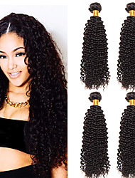 cheap -4 Bundles Malaysian Hair Kinky Curly Virgin Human Hair 100% Remy Hair Weave Bundles Natural Color Hair Weaves / Hair Bulk Human Hair Extensions 8-28 inch Natural Human Hair Weaves Safety Valentine