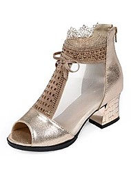 cheap -Women's Dance Shoes Synthetics Latin Shoes Lace Boots Thick Heel Customizable Gold / Black / Performance