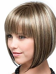 cheap -Synthetic Wig Bangs kinky Straight Bob Free Part Wig Blonde Short Light golden Synthetic Hair 14 inch Women's Fashionable Design Smooth Women Blonde